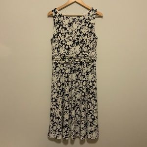 Chaps Floral Black and White Dress size L